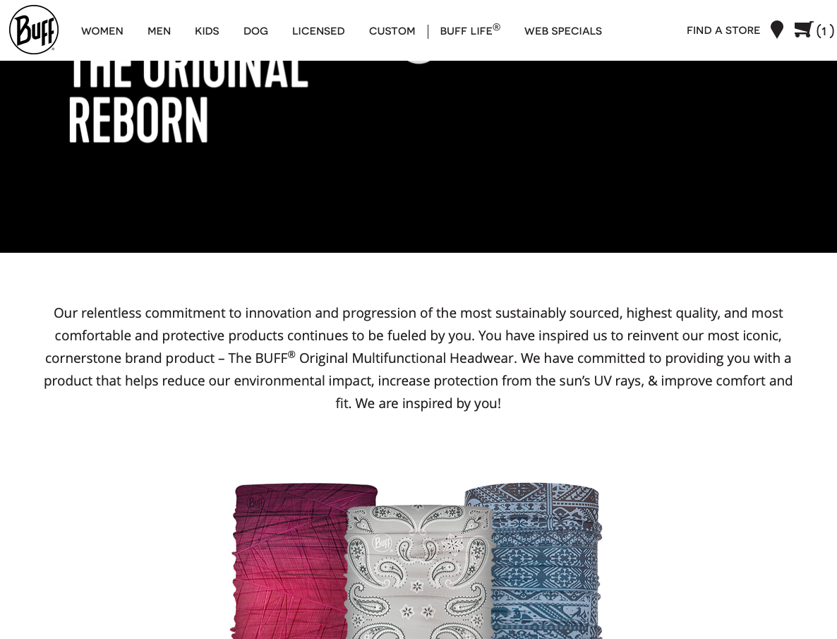 "The ""Original Reborn"" Landing Page on the Buff site, powered by Content Blocks."