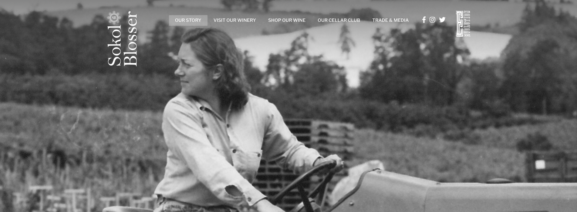 Susan Sokol Blosser on a tractor, a header image from the Sokol Blosser site